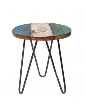 Table d'appoint ronde en teck coloré