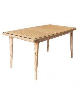 Table rectangulaire en corde et en bois