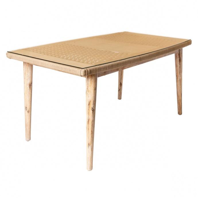 Table rectangulaire en corde et en bois (Naturel)