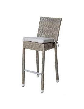 Chaise haute d'extérieur en rotin et aluminium