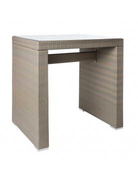 Table haute d'extérieur en rotin et verre