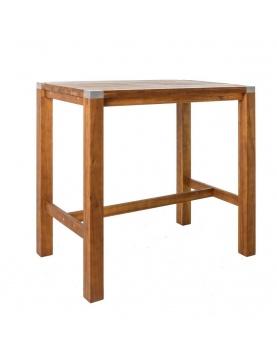 Table haute en bois et acier inoxydable