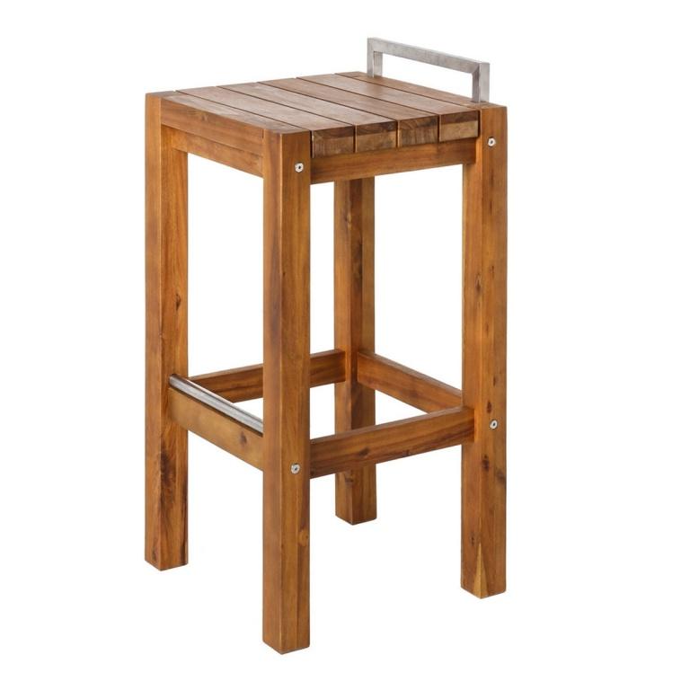 Tabouret haut en bois et acier, (Naturel) - Homemaison ...
