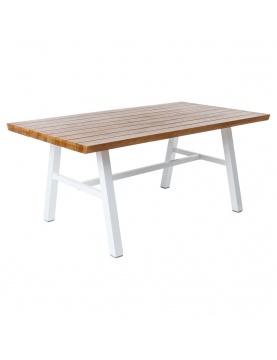 Table en aluminium blanc et bois