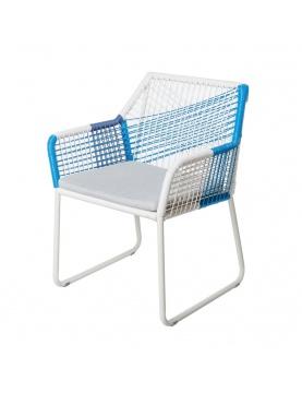 Chaise à accoudoirs à cordes bicolores