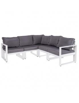 Canapé d'angle en aluminium blanc et gris