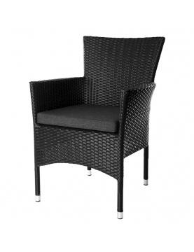 Lot de 2 fauteuils empilables en rotin noir