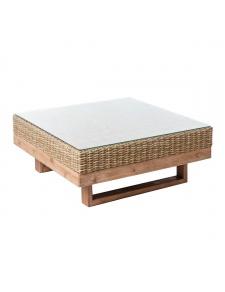 Table basse carrée en bois et rotin