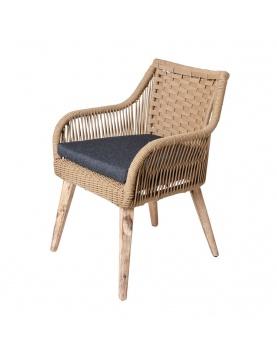Lot de 4 chaises naturelles en corde et bois