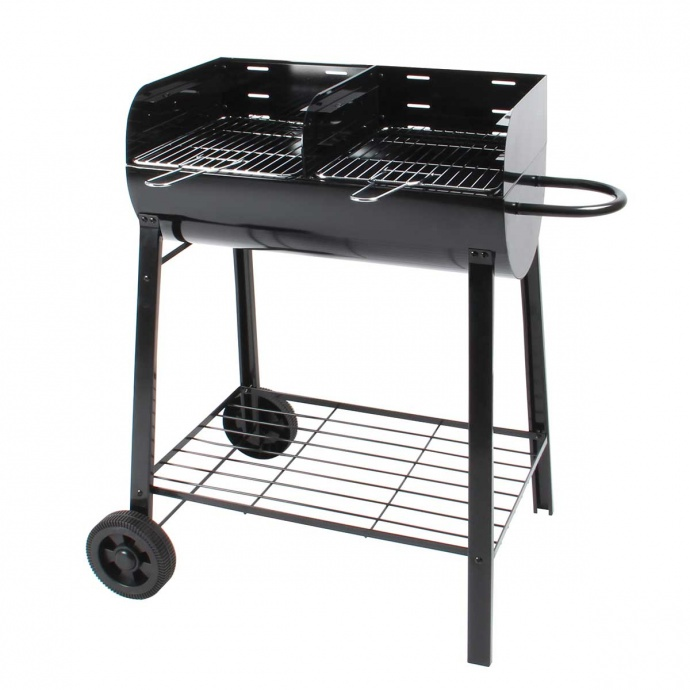 Barbecue à charbon de bois séparé en 2 foyers (Noir)