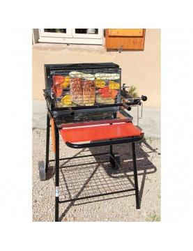 Barbecue à charbon et à cuisson verticale avec système breveté