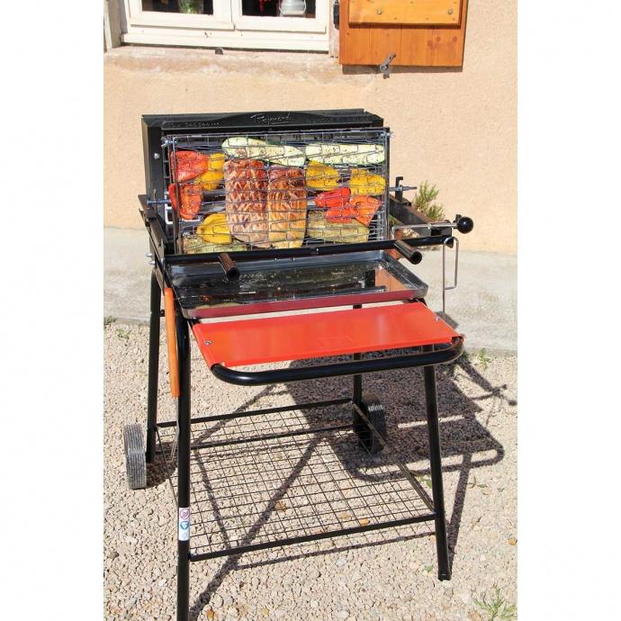 Barbecue à charbon et à cuisson verticale avec système breveté (NOIR/ROUGE)