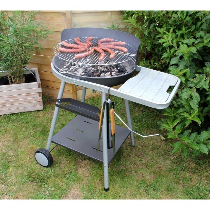 Barbecue à charbon de bois avec grille pivotante (Acier)