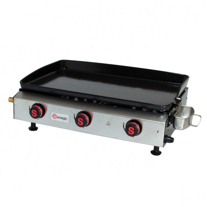 Plancha à gaz avec cuve et bâti en acier laqué (Inox)