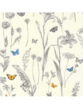 Papier peint LUTECE avec esquisses champêtres au crayon