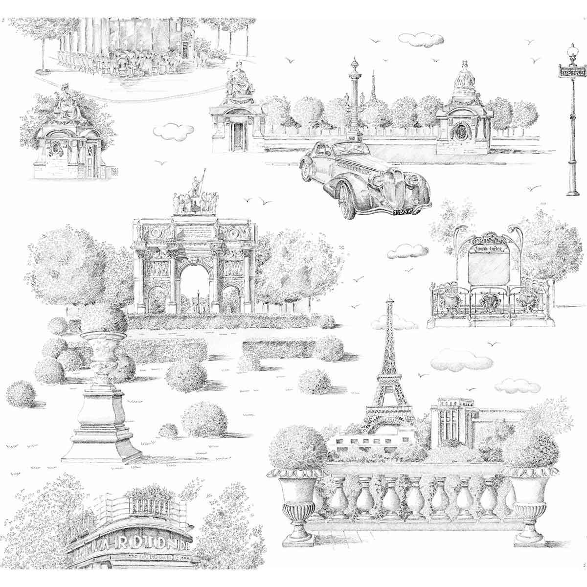 Tissu imprimé vie parisienne