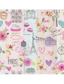 Papier peint LUTECE imprimé Paris girly