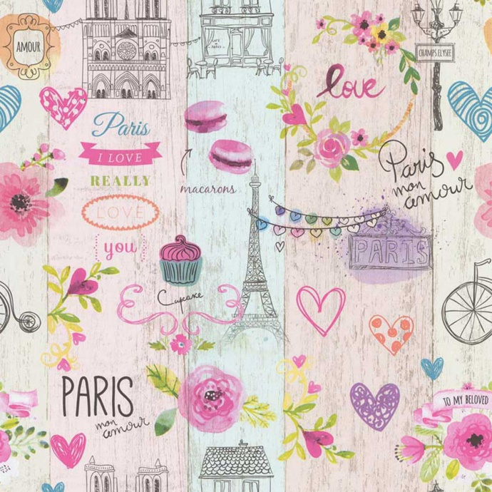 Papier peint LUTECE imprimé Paris girly (Rose)