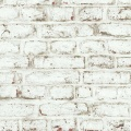 Papier peint LUTECE imprimé briques blanches écaillées (Blanc)