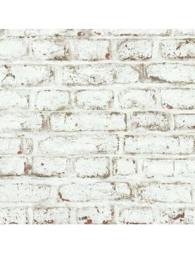 Papier peint LUTECE imprimé briques blanches écaillées
