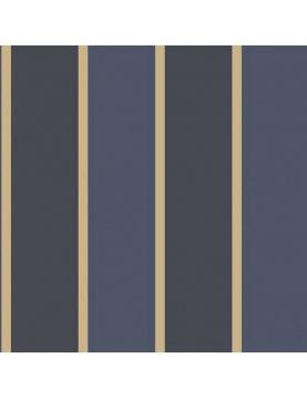 Papier peint LUTECE imprimé rayures bleues et or