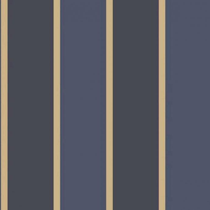 Papier peint LUTECE imprimé rayures bleues et or (Bleu)