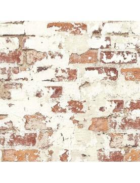 Papier peint LUTECE vieux mur de briques rouges