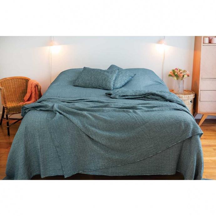Dessus de lit à effet délavé (Petrol)