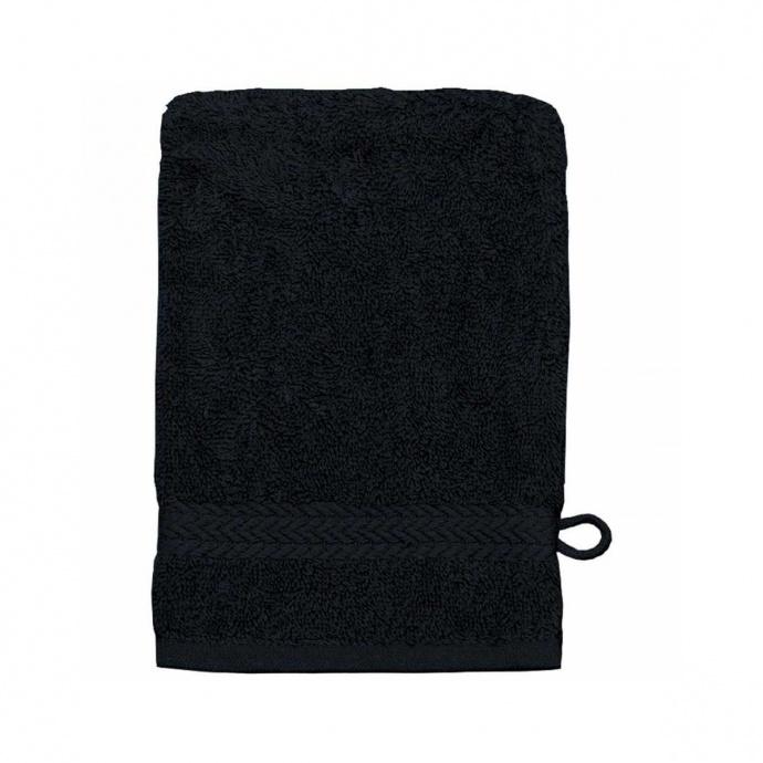 Gant de toilette 16 x 22 cm en Coton couleur Noir (Noir)