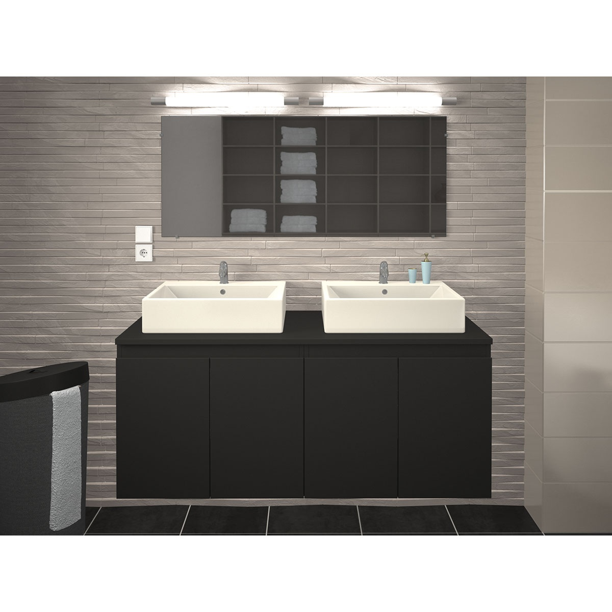 Meuble et double vasques de salle de bain en 120 cm  (Gris)