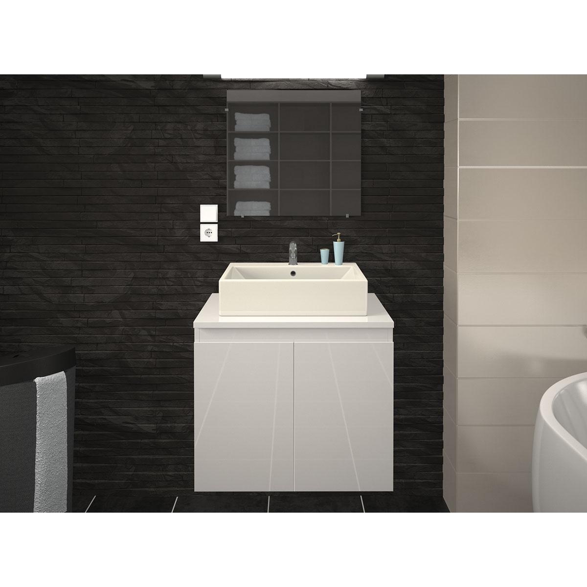 Meuble de salle de bain en 60 cm avec vasque (Blanc)