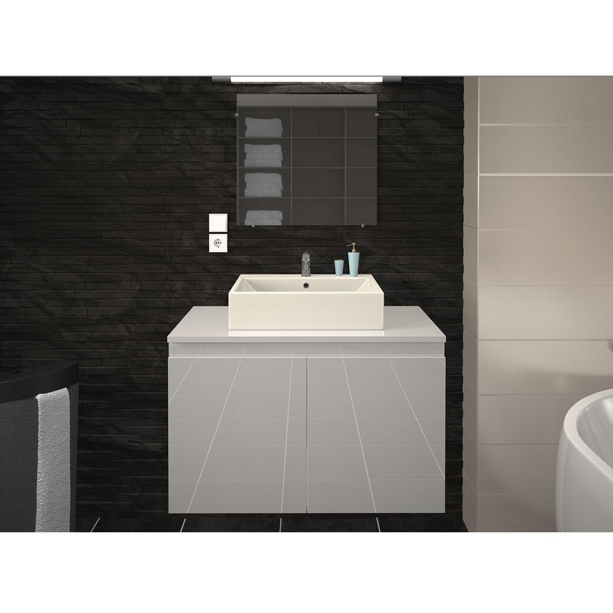 Meuble et vasque de salle de bain en 80 cm  (Blanc)