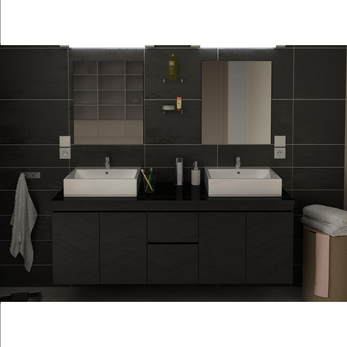 Meubles et vasques de salle de bain en 150 cm  (Noir)