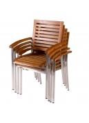 Lot de 4 fauteuils à bras en acacia