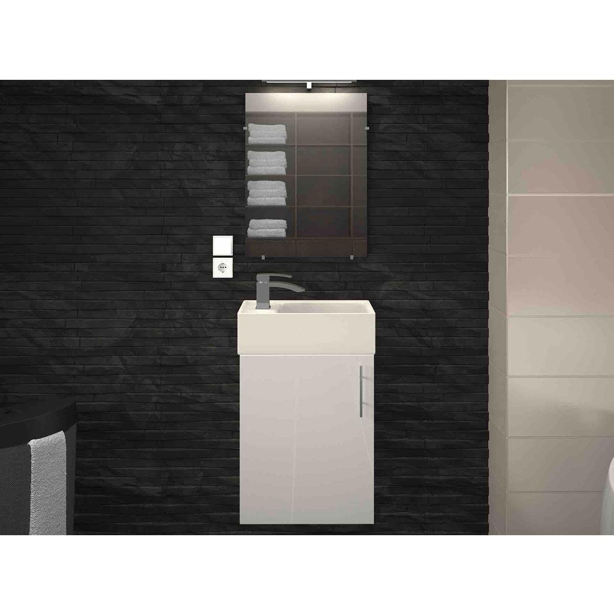 Ensemble meuble et vasque pour petit espace (Blanc)