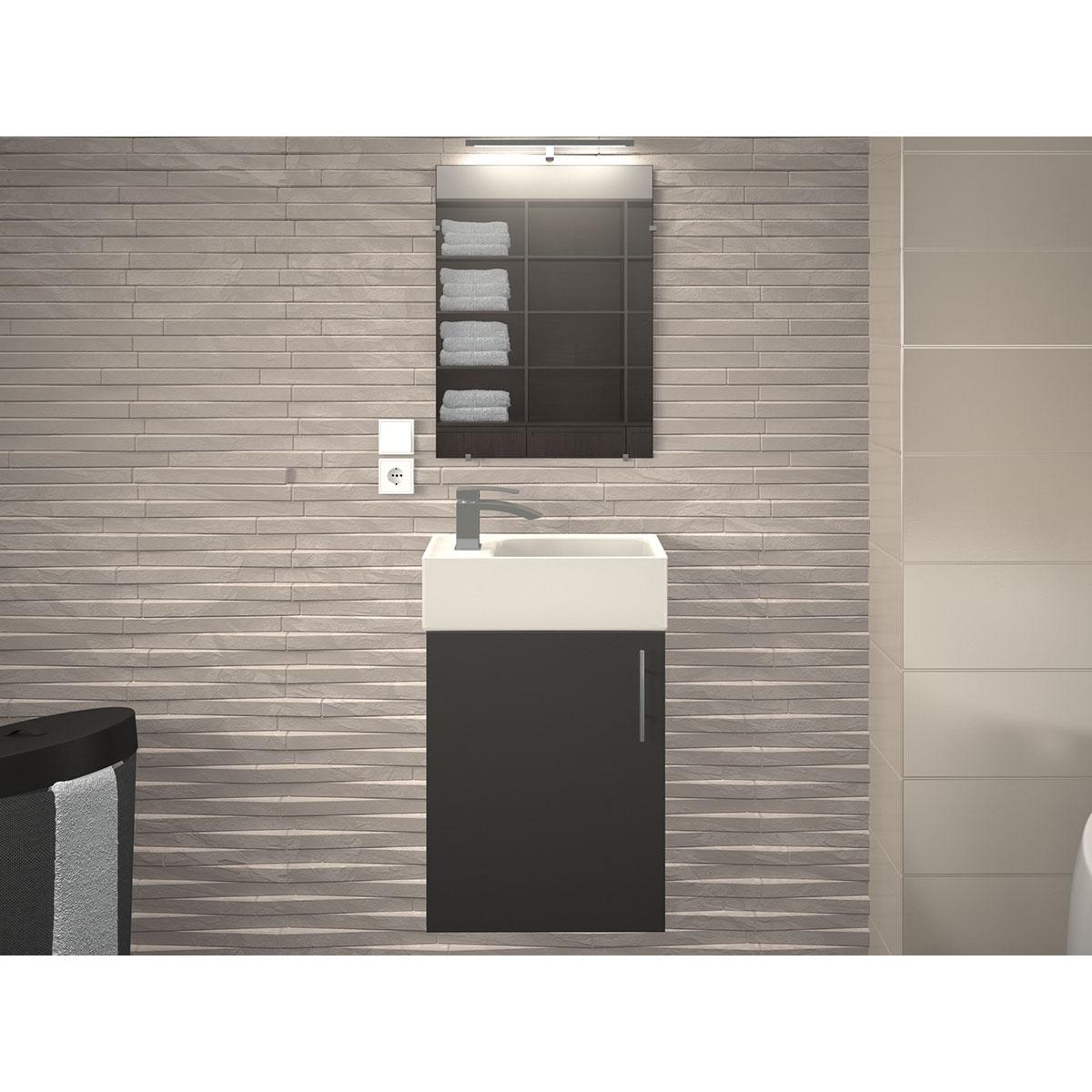 Ensemble meuble et vasque pour petit espace (Gris)