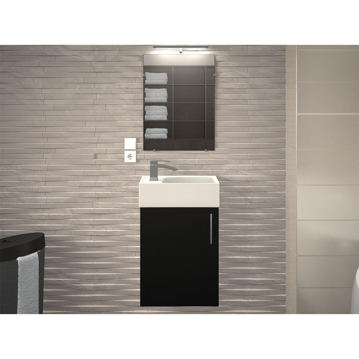 Ensemble meuble et vasque pour petit espace (Noir)