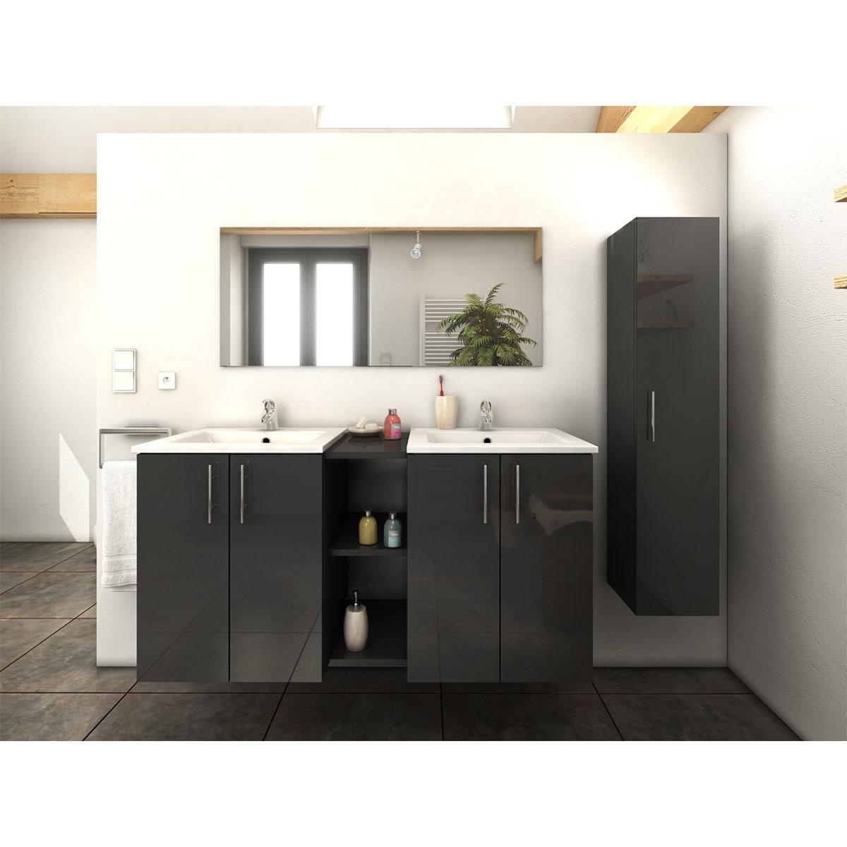 Ensemble vasques colonne et meuble en 120 cm (Gris)