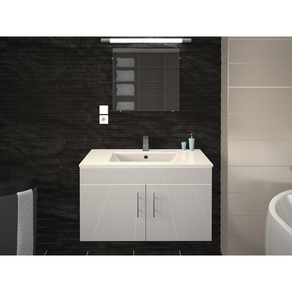 Vasque et meuble de salle de bain en 80 cm  (Blanc)