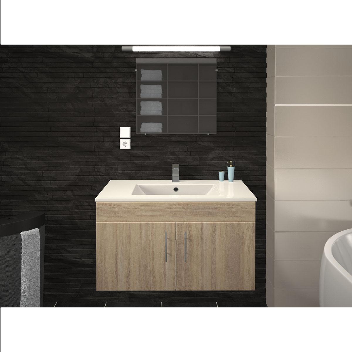 Vasque et meuble de salle de bain en 80 cm  (CHÊNE)