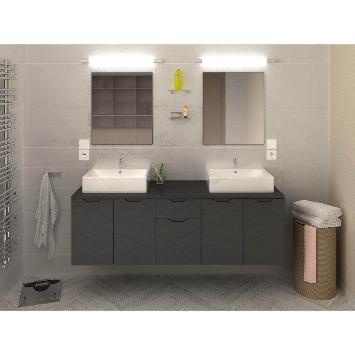 Ensemble design et moderne de salle de bain (Gris)