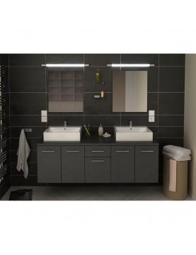 Ensemble moderne avec miroirs et double vasques