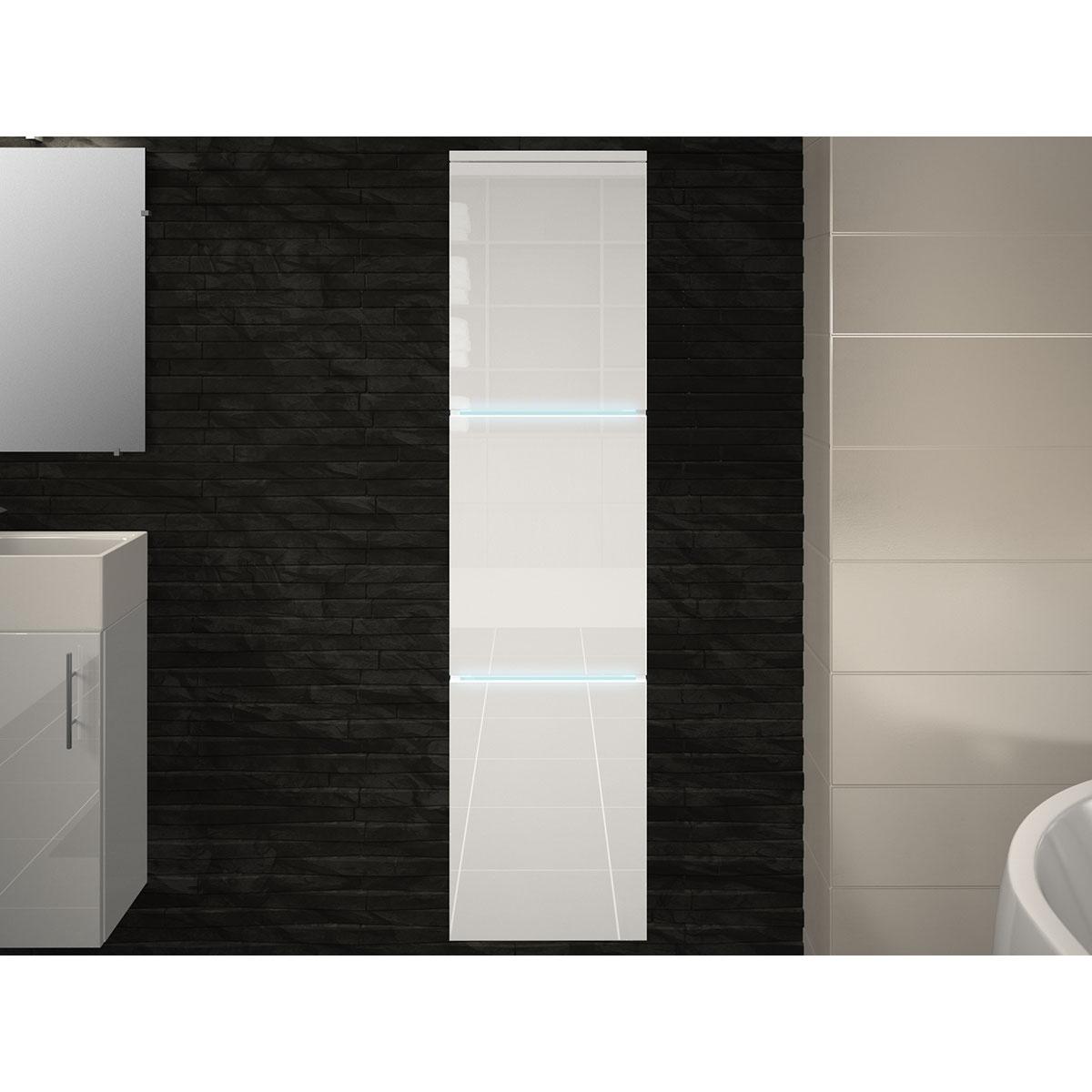 Colonne salle de bain 3 portes avec leds (Blanc)