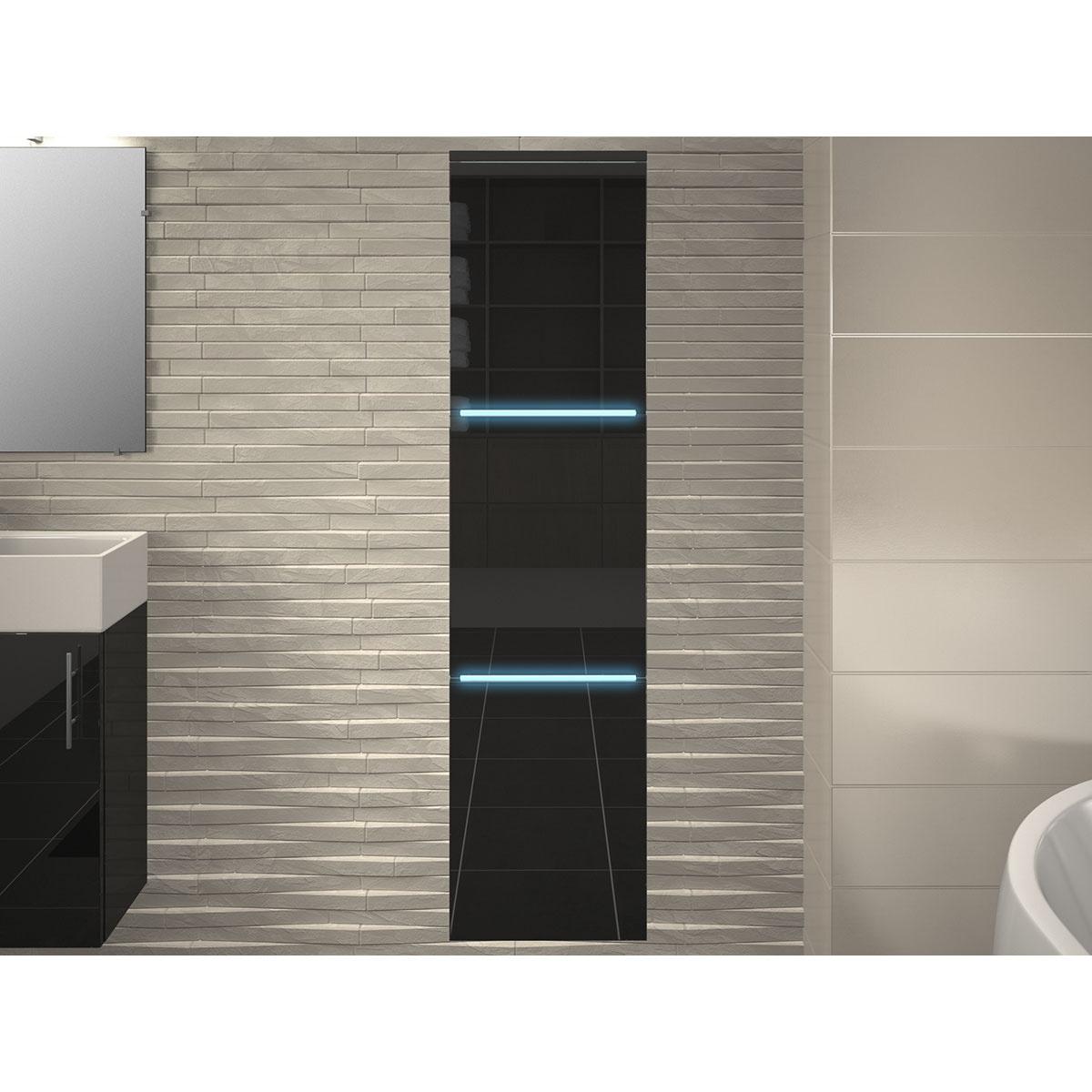 Colonne salle de bain 3 portes avec leds (Gris)