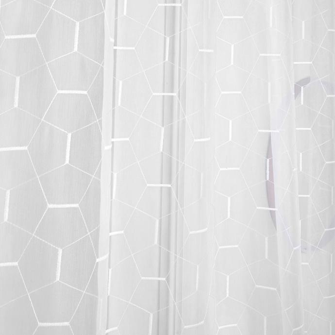 Voilage brodé aux formes géométriques (Blanc)