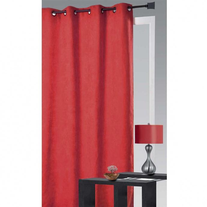 Rideau uni en suédine colorée (Rouge)