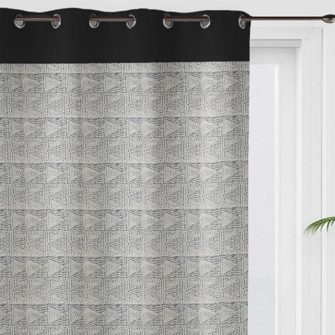 Rideau à motifs graphiques en 100% coton (Noir)