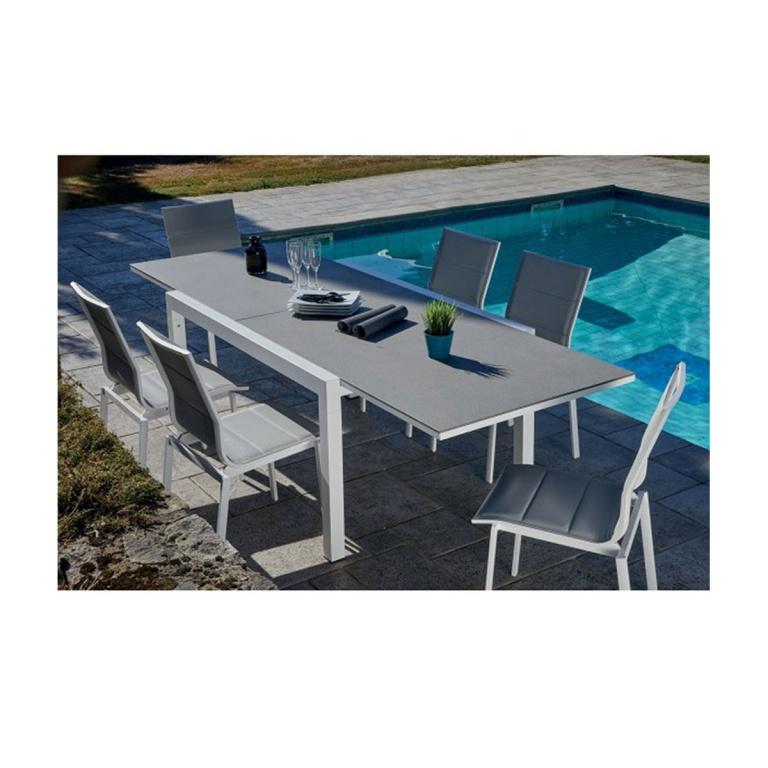 Salon de jardin avec table extensible , (Gris et Blanc ...