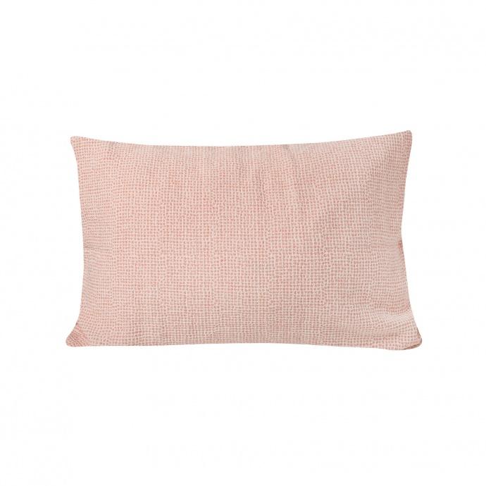 Coussin en tissu jacquard et motif pointillé (Moka)