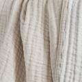 Plaid réversible en gaze de laine et coton (ECRU/BEIGE)